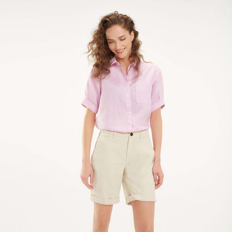 Camisa de mujer Tommy Hilfiger con rayas en rosa y bolsillo