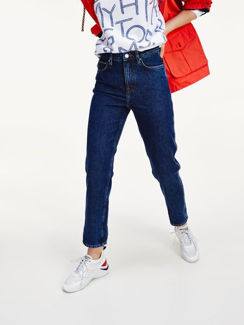 Jeans-rectos-de-talle-alto-con-vuelta-Tommy-Hilfiger