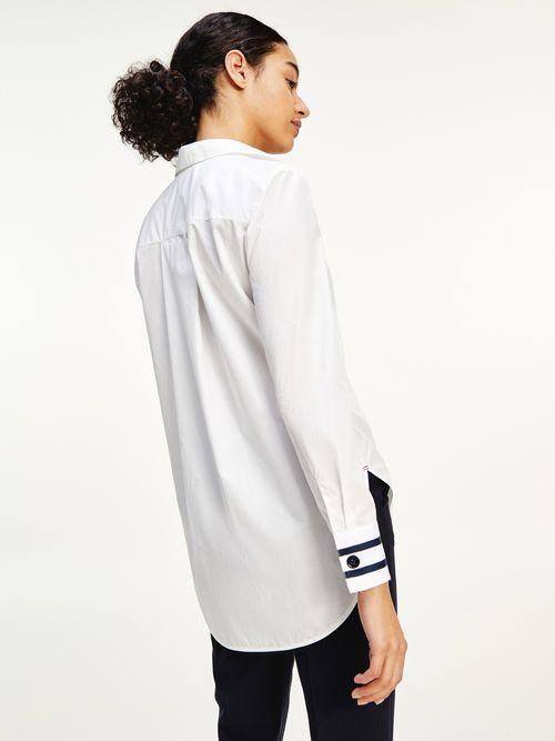 Blusa-de-algodon-con-puños-a-contraste-Tommy-Hilfiger
