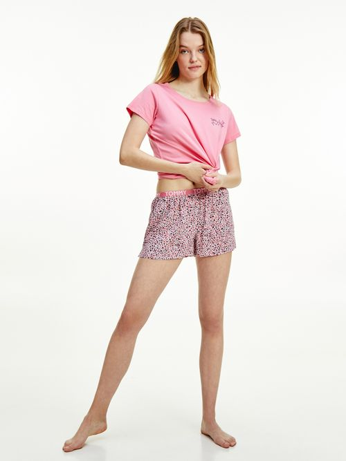 Pantalon-corto-de-viscosa-con-logo-Tommy-Hilfiger