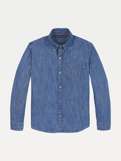 Camisa-de-mezclilla-con-bolsillo-Tommy-Hilfiger