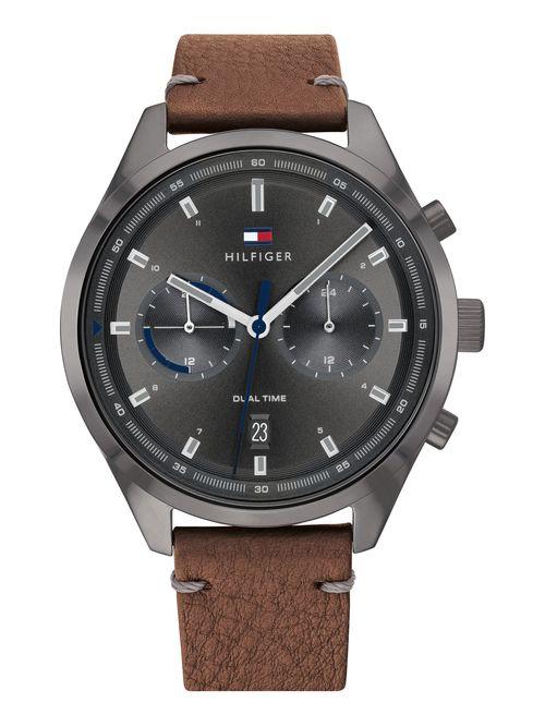 Reloj-bicolor-con-brazalete-de-piel-camel-Tommy-Hilfiger