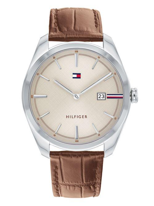 Reloj-claro-con-brazalete-de-piel-camel-Tommy-Hilfiger