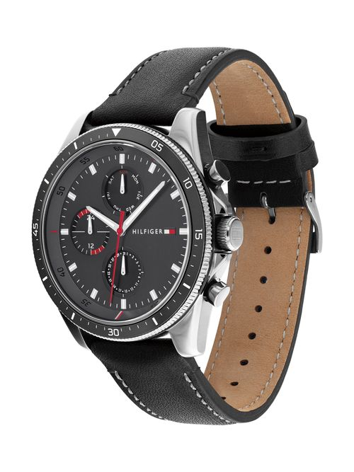 Reloj-con-brazalete-de-piel-negra-Tommy-Hilfiger